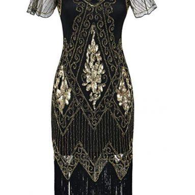 Women's Flapper Dresses 1920s Sequins Art Deco Gatsby Cocktail Dress