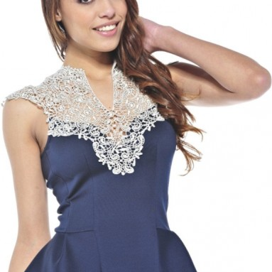 Crochet Neck Peplum Navy Top
