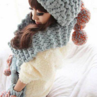 Crochet Woollen Gloves Scarf Hats Cap