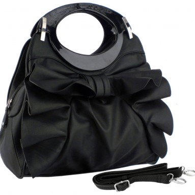 DACIA Large Bowknot Ruffle Satchel Hobo Handbag