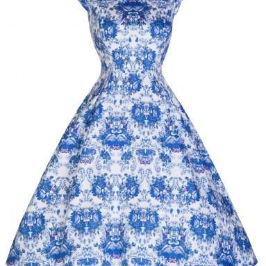 Delightfully Darling Vintage Print 50's Inspired Tea Dress