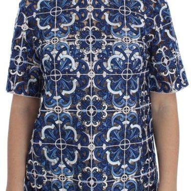 Dolce & Gabbana Blue Floral Cutout Applique Majolica Blouse