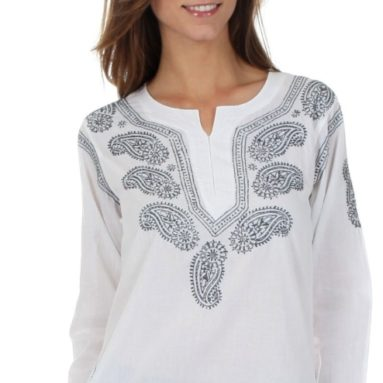 Embroidered Cotton Long Sleeve Blouse