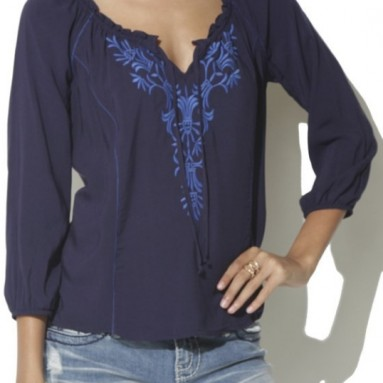 Embroidered Peasants Banded Top