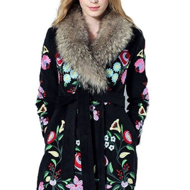 Embroidered Wool Wrap Coat Fur Collar