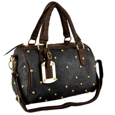 Faux Crocodile Bowler Handbag