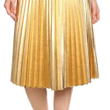 Faux Leather High Waist Pleated Skirt