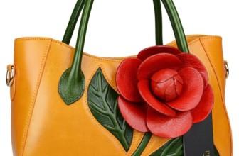 Flower Ladies Handmade Leather Tote Handbags