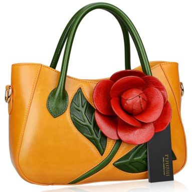 Flower Ladies Handmade Leather Tote Handbags