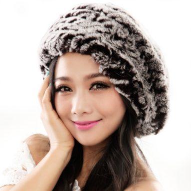 Fur Beret Hats with Fur Flower