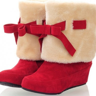 Fur Trimmed Bow Tie Mid Calf Boots