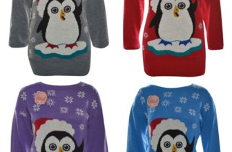 Jumper Winter Sweater Snowflakes Penguin