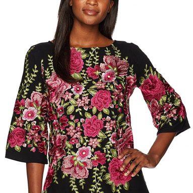 Karen Kane Women's Embroidered Side-Slit Tunic