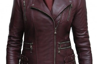 Ladies Womens Real Leather Biker Jacket