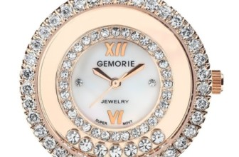 Leather Watch with Diamond-cut Zirconia in Rose Gold Plating