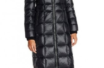 Long Maxi Down Coat with Faux-Fur Ruff