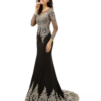 Long Sleeve Mermaid Evening Dress