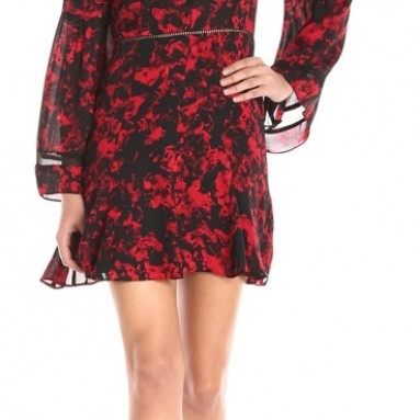 Long-Sleeve Printed Boho Dress
