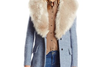 Mischka Women's Holly Wool Boucle with Faux Fox Fur Collar
