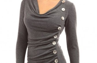 Neck Button Embellished Top