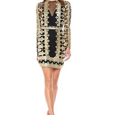 Nicole Miller Women's Crown Emb/Mesh Illusion Dress