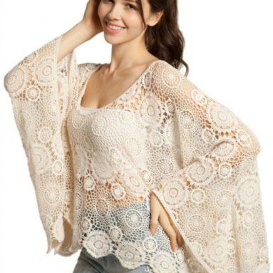 Oversize Beige Batwing Floral Cut Out Lace Crochet Top Shirt