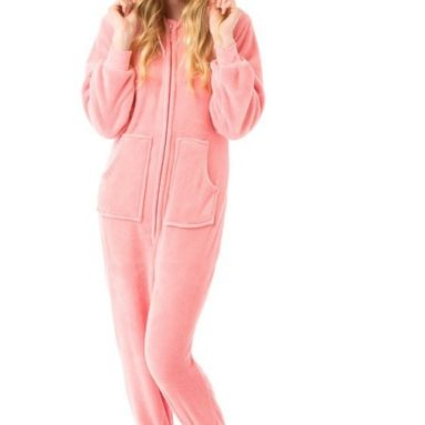Pink Hoodie Plush Footed Pajamas