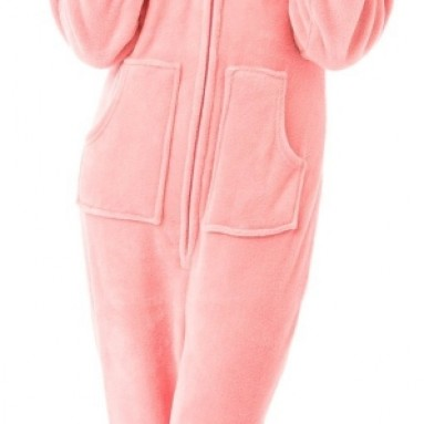 Pink Hoodie Plush Footed Pajamas w/Drop Seat