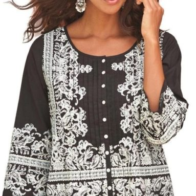 Women's Plus Size Embroidered Print Bigshirt