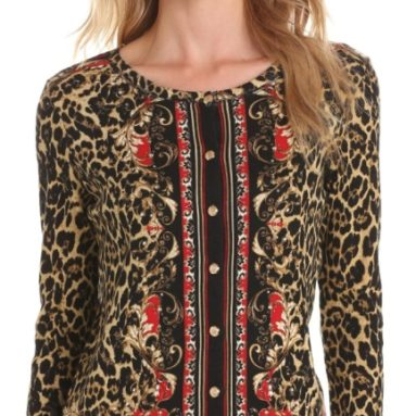 Rafaella Women's Animal Scarf Cardigan
