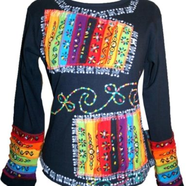 Rainbow Cotton Top Blouse
