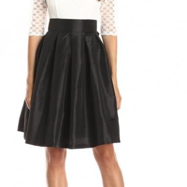 Sleeve Polka Dot Lace Large Pleat Skirt Dress
