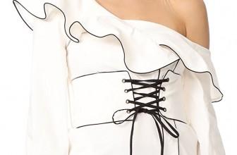 Self Portrait Women's Canvas Corset Belted Tunic