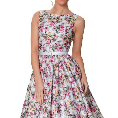 Sexyher Vintage Style 1950's Rockabilly Swing Floral Evening Dress
