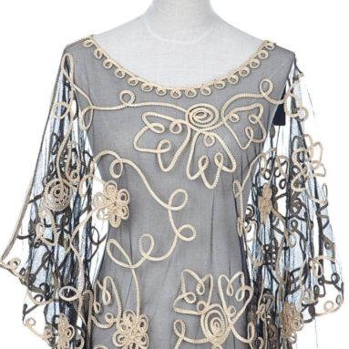 Fit Sheer Batwing Blouse Swirling Golden Flower
