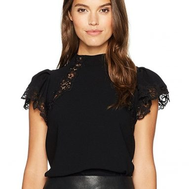 Shortsleeve Crepe Lace Top