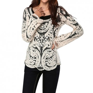 Sleeve Embroidery Floral Lace Crochet T-Shirt