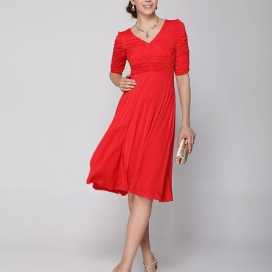 Sleeve Ruched Waist Classy V-Neck Casual Cocktail Dress