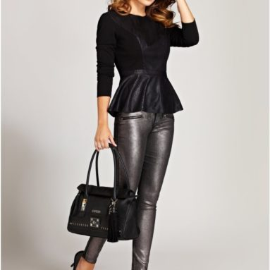 Snake-Embossed Faux-Leather Top