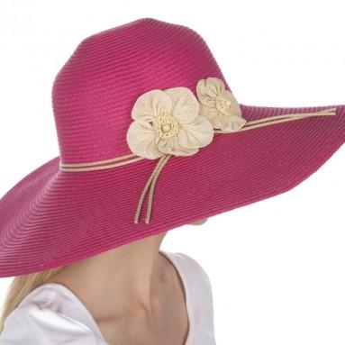 Straw Flower Accent Wide Brim Floppy Hat