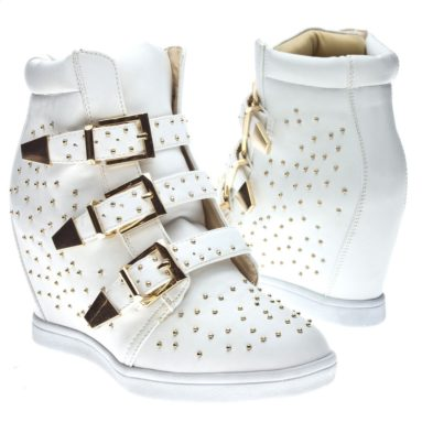 Studded Buckle High Top Wedge Sneaker