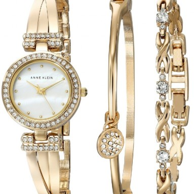 Swarovski Crystal-Accented Gold-Tone Bangle Watch
