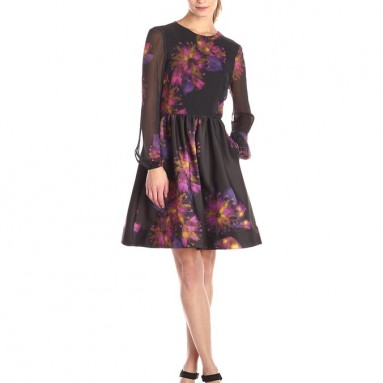 Taylor Dresses Women's Long Sleeve Blurred Floral Fit and Flare Dress