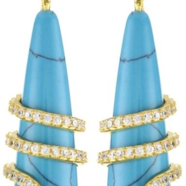 Turquoise and Cubic Zirconia Snake Earrings