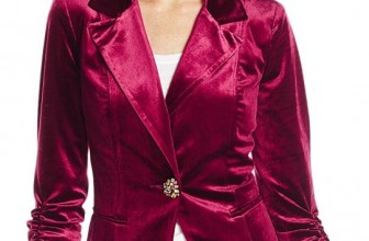 Velvet Rouched Sleeve One Button Blazer