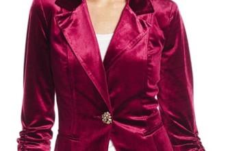 Velvet Rouched Sleeve One Button Blazer