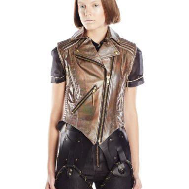 Viktor Luna Women's Hologram Moto Leather Vest