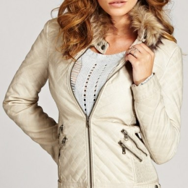 Vintage Effect Faux-Leather Jacket