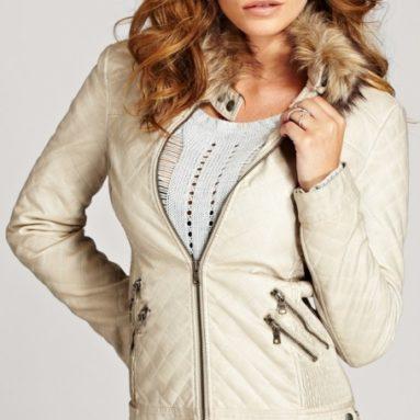 Vintage Effect Faux-Leather Jacket