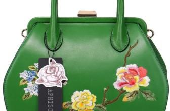 Vintage Embroidery Peony Women's Header Layer Cowhide Handbags